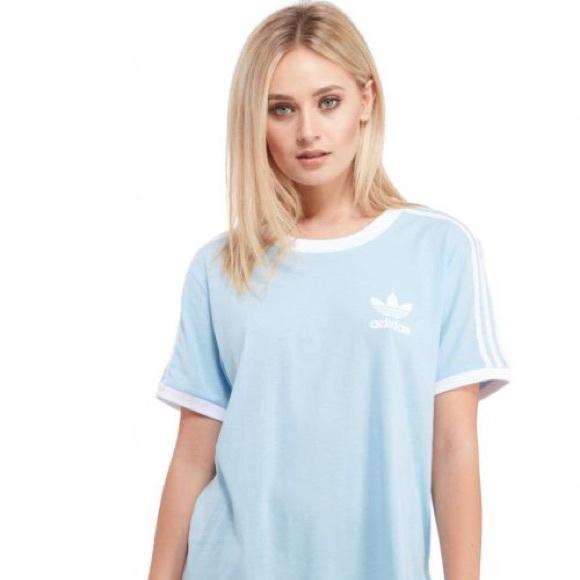 info for cd398 17d44 adidas Tops - Light Blue Adidas 3 Striped Tee